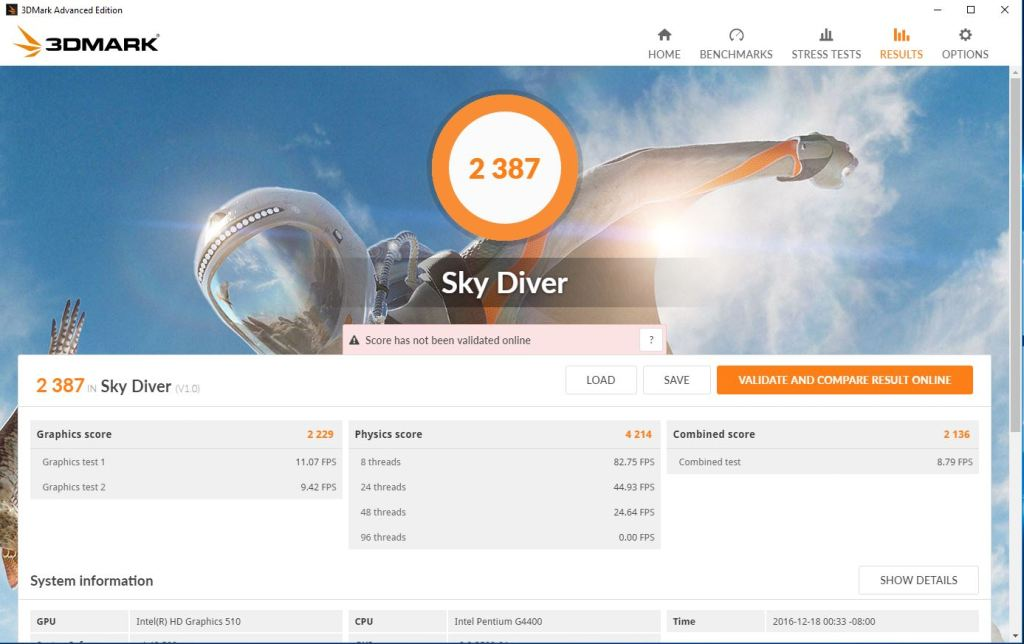 Screenshot of the 3DMark SkyDive benchmark results from the server