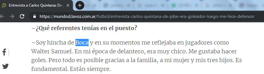 San lorenzo 2 defensa 1. Carlos Quintana hincha de | ¿De qué cuadro es Carlos