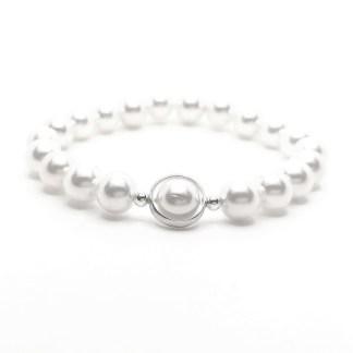 Náramek perly 8mm s kroužkem ve stříbrné barvě