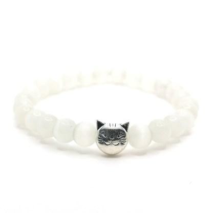 Náramek dětský kočičí oko 6 mm bílé s kočičkou