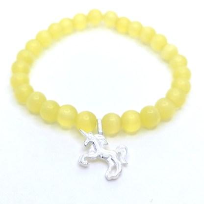 Náramek dětský kočičí oko 6 mm žluté s jednorožcem