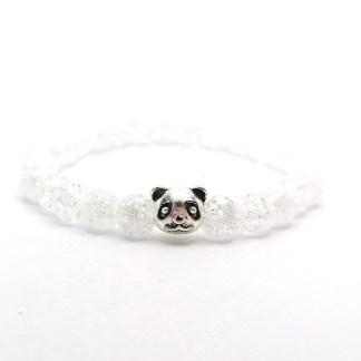 Náramek křišťál praskaný 6 mm s pandou