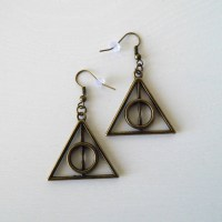 Náušnice Deathly Hallows staromosaz