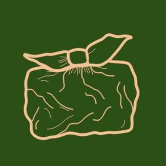 illustration furoshiki orange pêche clair sur fond vert foncé sapin