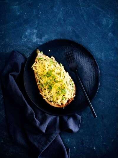 recette d'été : aubergine farcie au boulgour