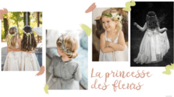 Inspirations de coiffures fleuries pour mariage ou événement, enfants