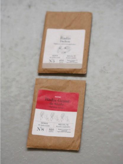 sachet de graines bio et reproductibles de radis daikon et radis géant de Sicile