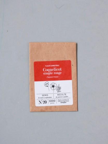 sachet de graines bio et reproductibles de fleur comestible de coquelicot rouge simple - échoppe végétale