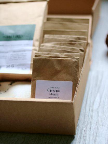coffret cadeau pour jardinier débutant et potager facile en ville, 12 sachet de graines bios en kraft pour cultiver un potager en ville sur un balcon