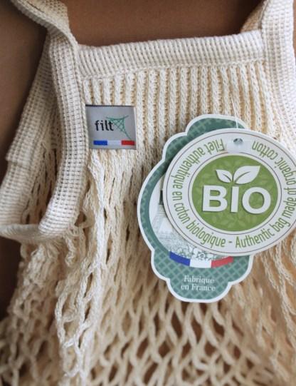 filet à provision, marché, coton écru bio, crocheté en Normandie