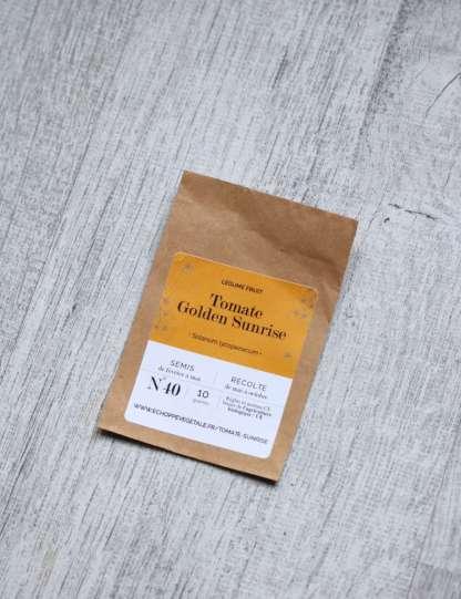 graines de tomate cerise bio golden sunrise, sachet kraft marron, étiquette orange