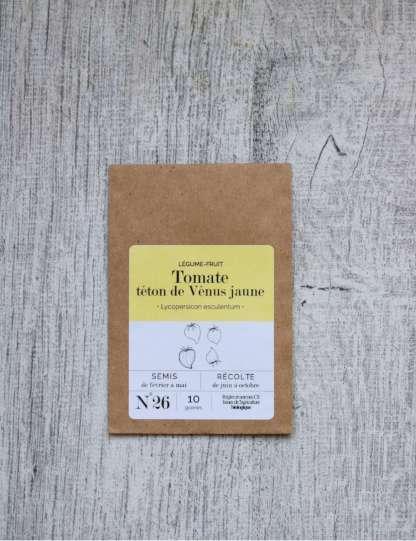 graines de tomate cerise bio jaune téton de Venus, sachet kraft marron, étiquette orange