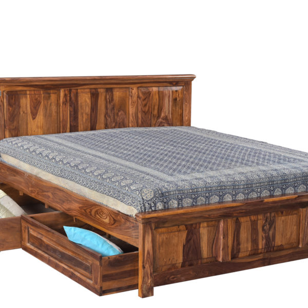 Tuscany Wooden King Bed With Storage New Design