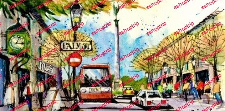 Bring City Scenes to Life Sketching Cars Trees and Furnishings