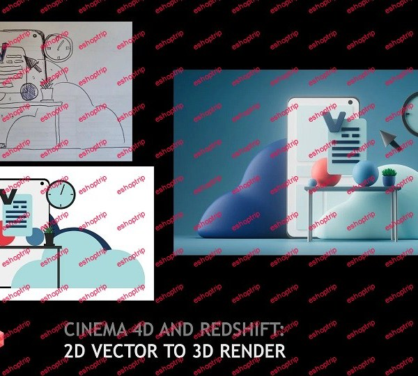 Cinema 4D and Redshift 2D vector to 3D render