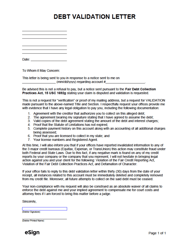 Free Debt Validation Letter Template - PDF  Word