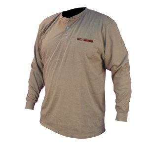 VolCore Long Sleeve Cotton Henley FR Shirt KHAKI