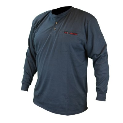 VolCore Long Sleeve Cotton Henley FR Shirt NAVY