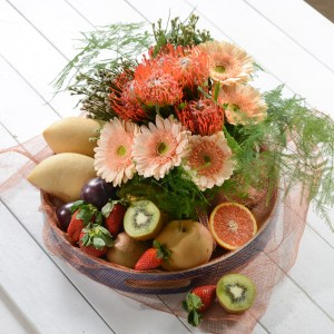 mix flowers fruits basket