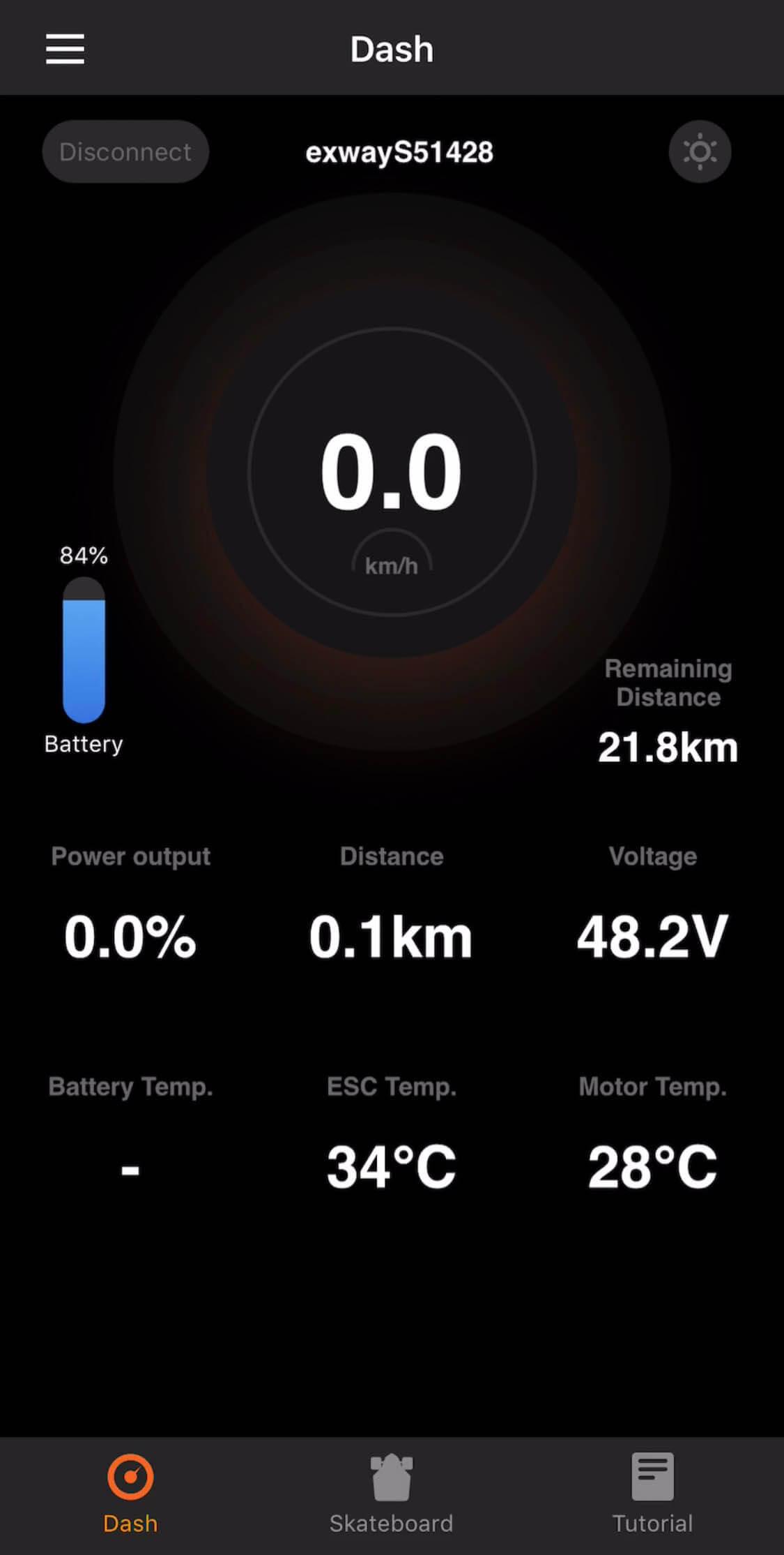Exway Mobile App Dark mode Dash