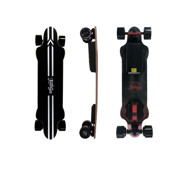 Teamgee H20 electric skateboard with black wheels