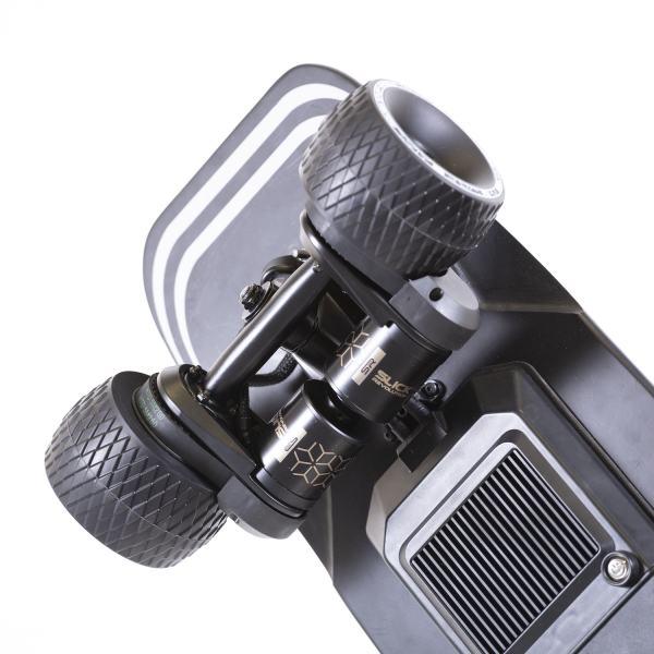 Slick Revolution Urban Kick electric skateboard rear motors at wheels and kick tail