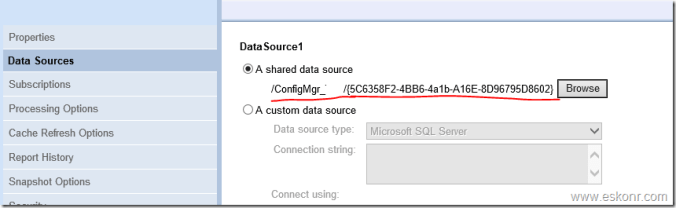 SCCM Configmgr 2012 How to change Custom Data source to Shared Data