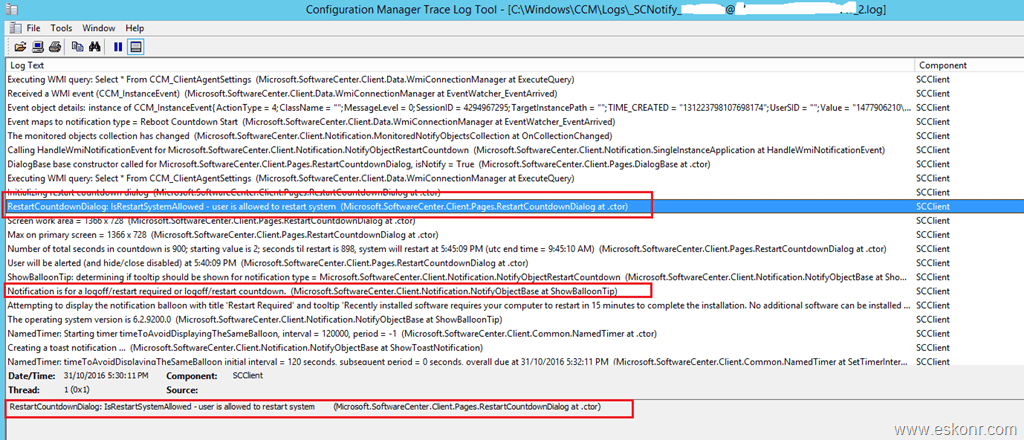 How to find who initiated restart of SCCM Configmgr Client | Eswar