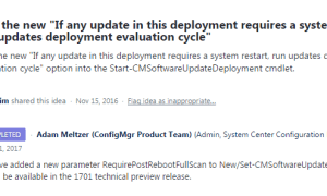 SCCM Configmgr powershell to enable the option software update deployment re-evaluation behaviour upon restart