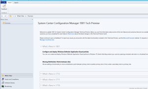 SCCM Configmgr Technical Preview 1801 available