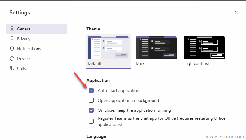 How to disable or enable auto start of Teams application