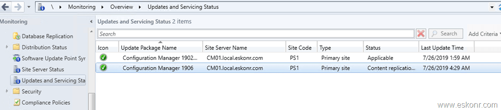 SCCM ConfigMgr Current Branch 1906 is available as in