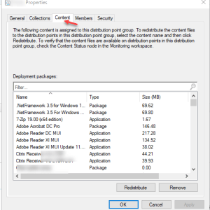 SCCM SQL query to list all the content of distribution point group