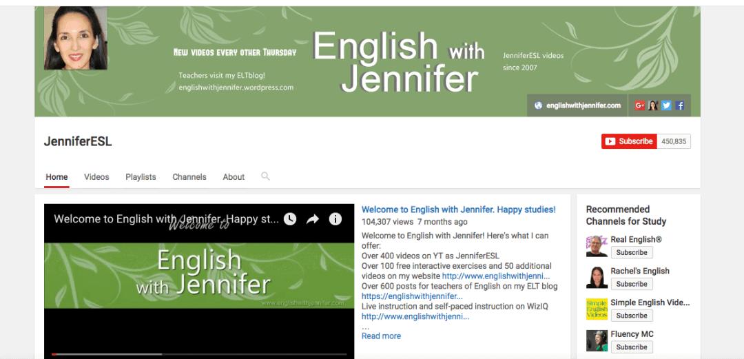 jennifer esl youtube