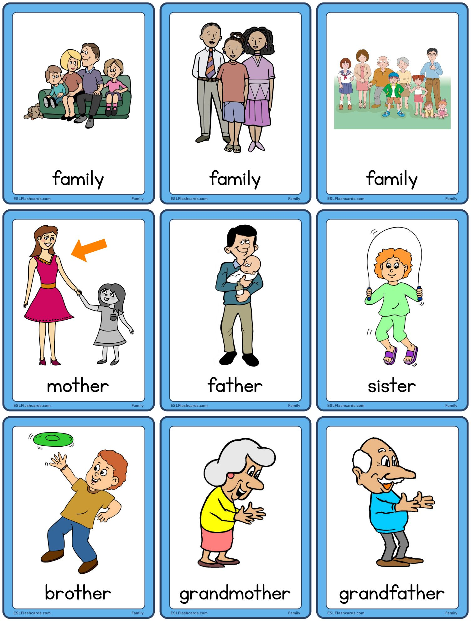 Family Flashcards Esl Flashcards