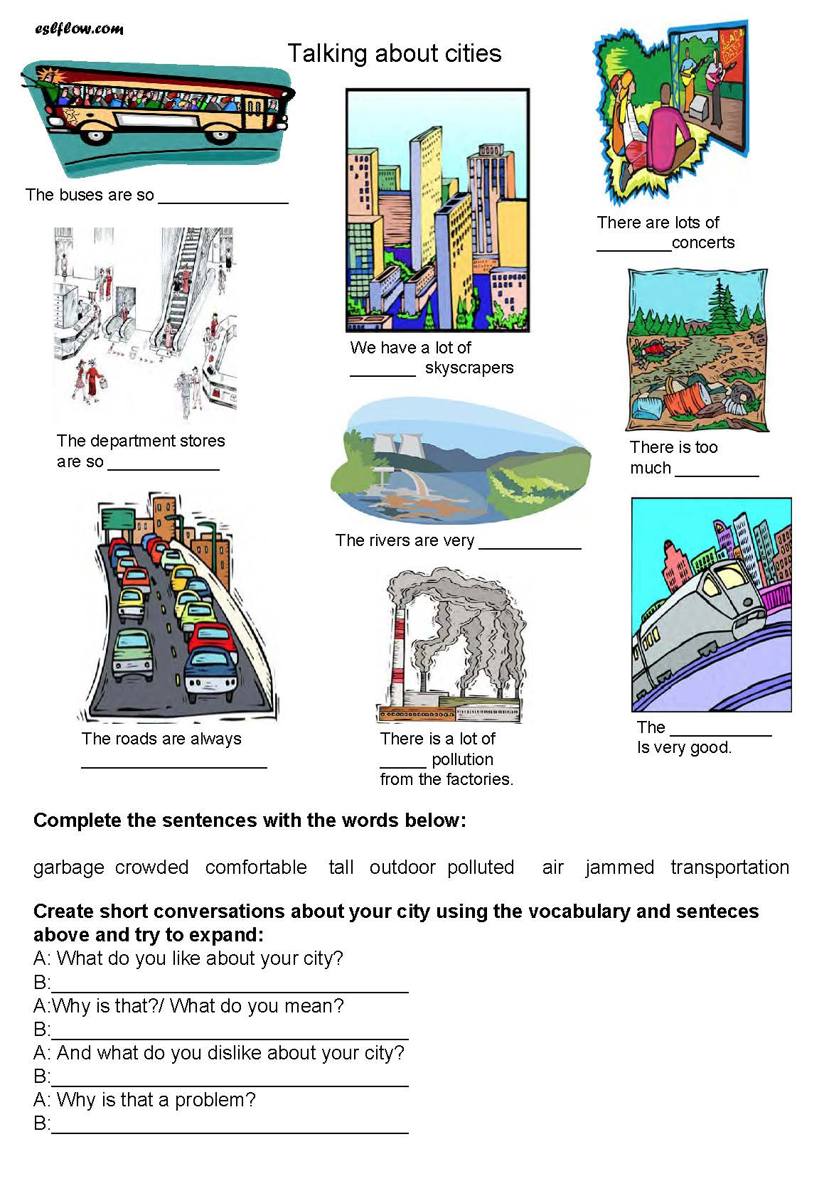 Talking About Cities Esl Worksheet