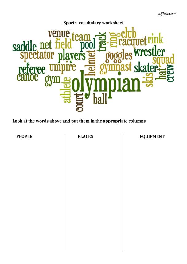 Sports Vocabulary Sorting Worksheet