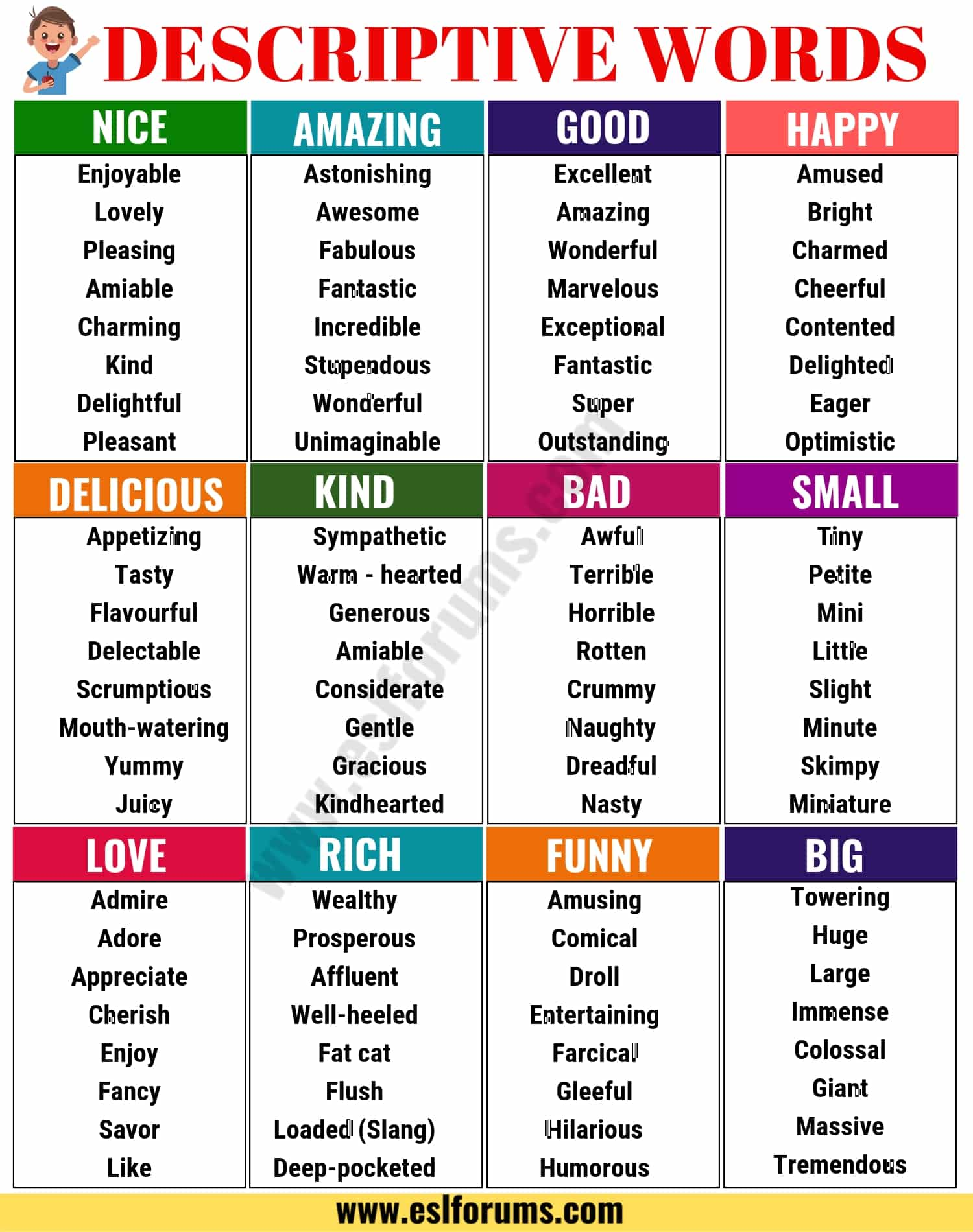 Descriptive Words A Huge List Of Descriptive Adjectives
