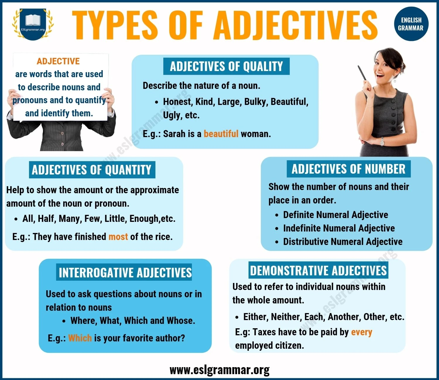 Adjectives 5 Types Of Adjectives With Definition Amp Useful