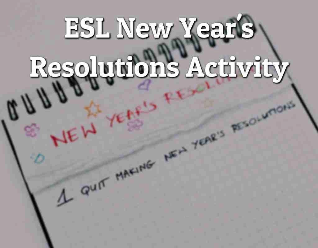 Esl New Year S Resolutions Activity