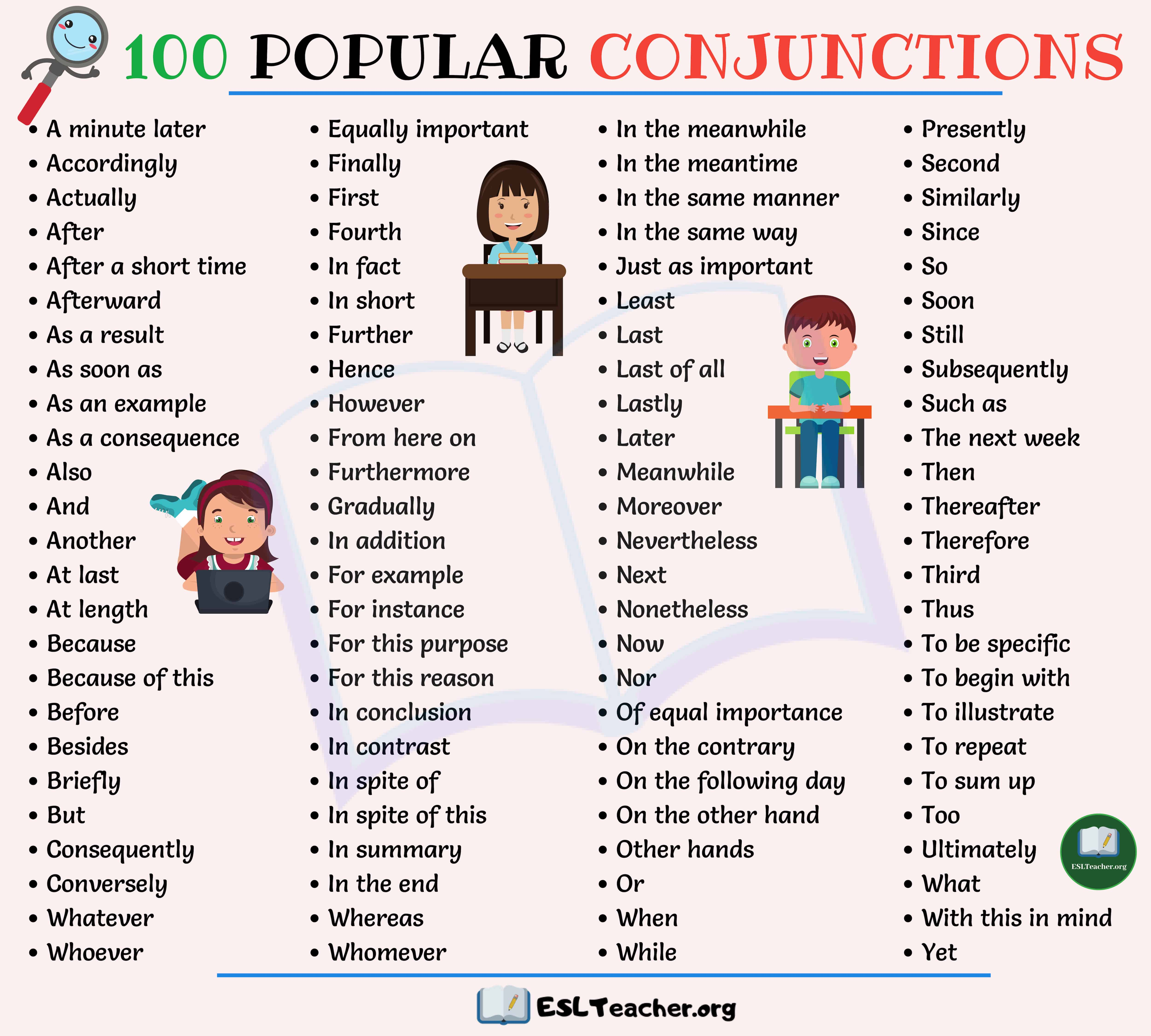 Conjunctions List Top 100 Popular Conjunctions In