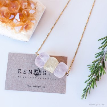 Colgante cuarzo rosa citrino laton esmagic tienda online