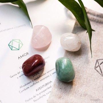 piedras, mienerales, cuarzo rosa, aventurina, talismán con indicaciones de uso
