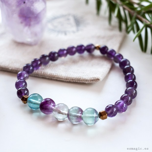 Pulsera Amatista Fluorita Esmagic Crystal Shop