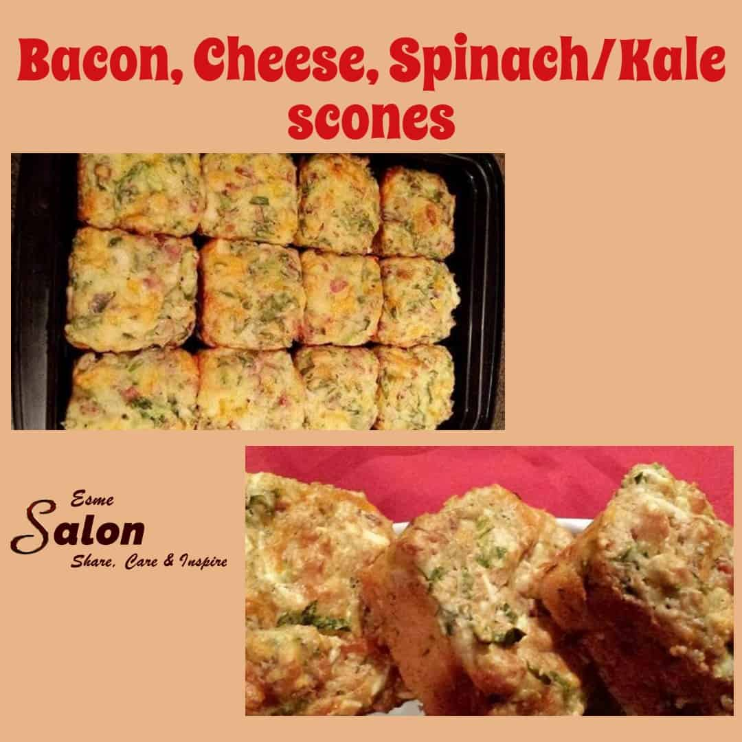 Bacon, Cheese, Spinach or Kale scones