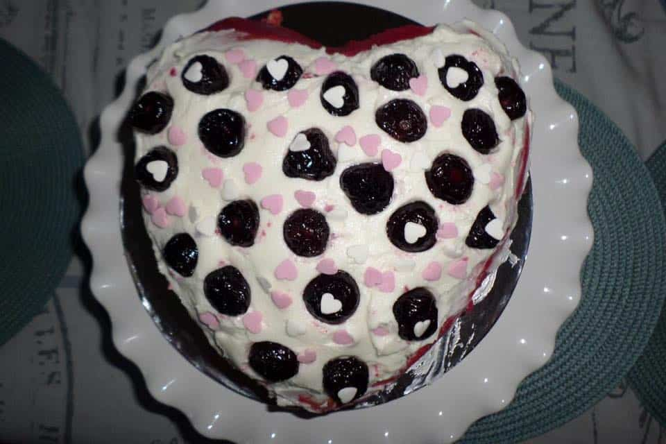 Red Heart Velvet Cake with cherry pie filling and frosting