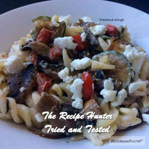 TRH Preshana's Sautéed vegetables with pasta and goats cheese