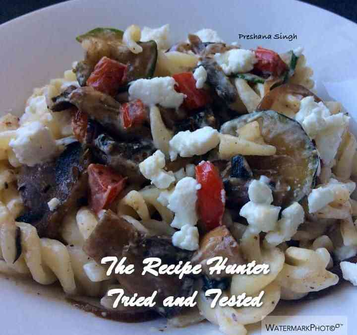 Preshana's Sautéed vegetables with pasta and goats cheese