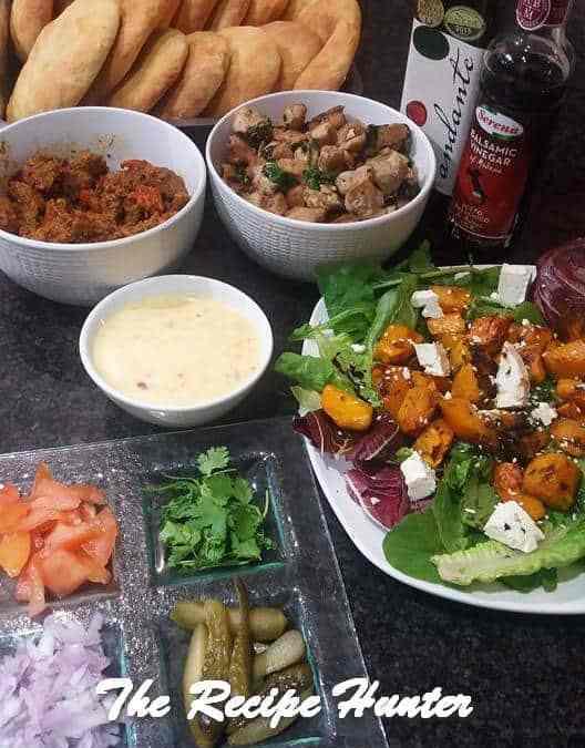 Feriel's Masala Steak and Chicken. Swarma Bread with Roasted Butternut and Rocket  Salad