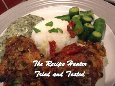 TRH Gail's Chicken in a basil, thyme, sundried tomato, garlic and parmesan creamy sauce